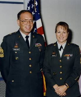 Sgt. Maj. Larry Strickland and Sgt. Maj. Debra Strickland