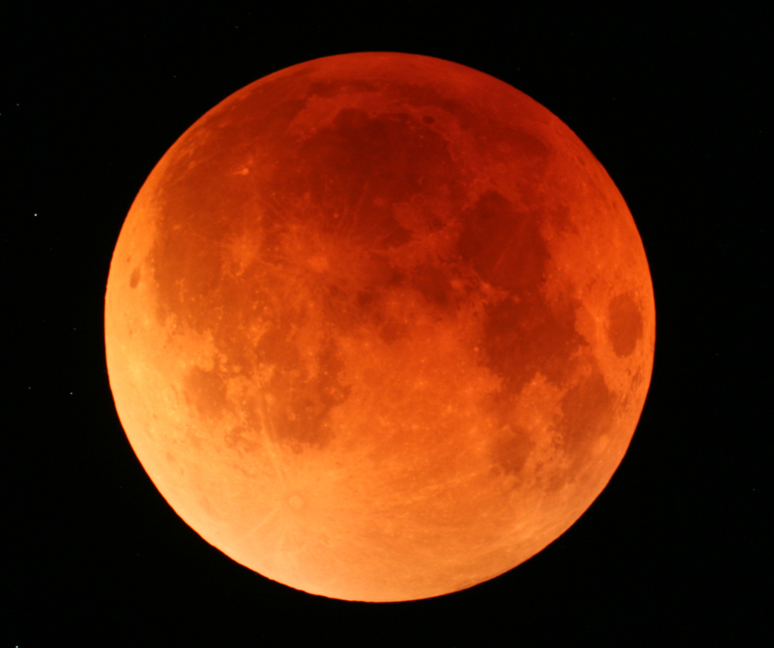 Total lunar eclipse as seen from Japan in 2007.