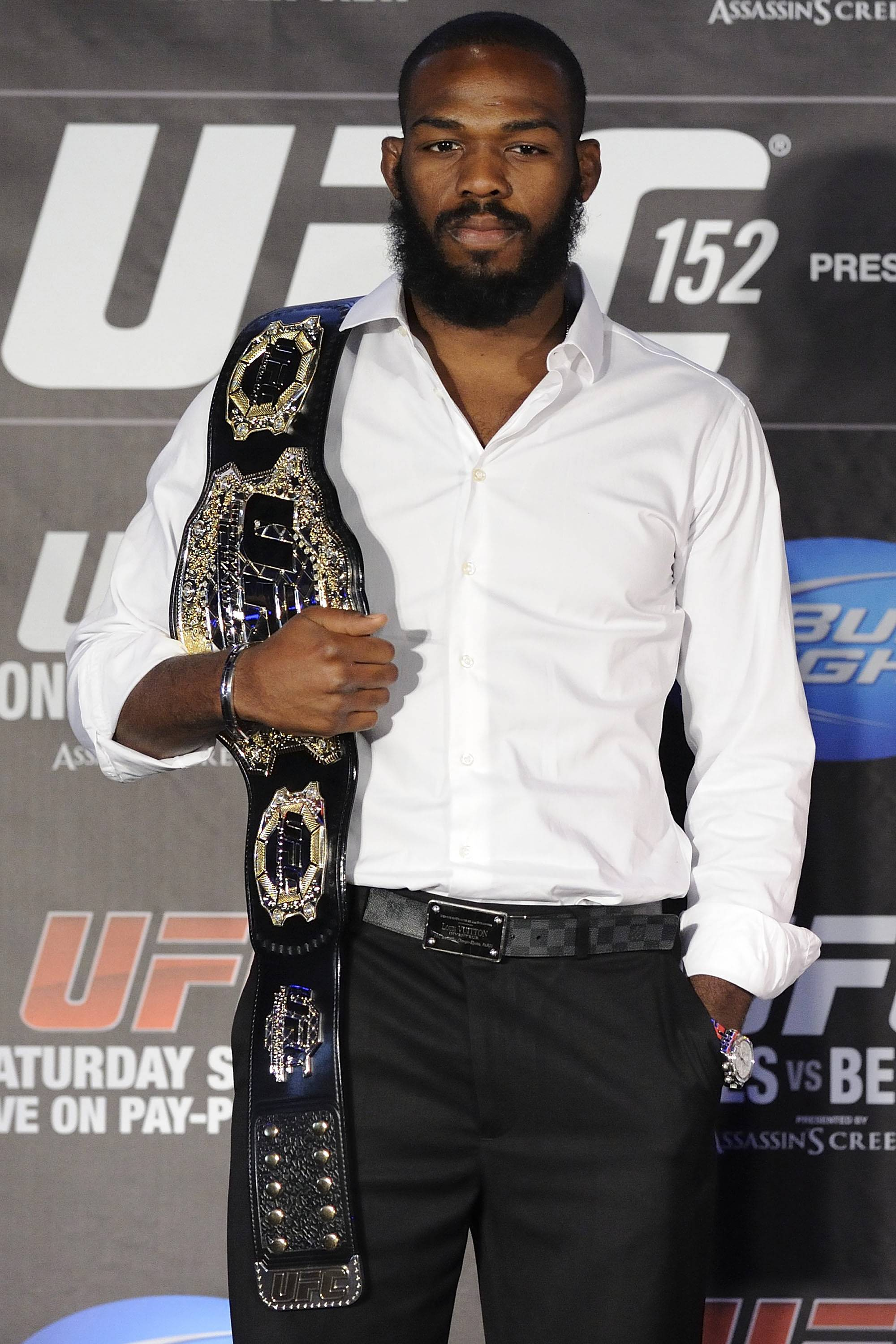 Jon Jones attends the  UFC 152 Press Conference ahead of his fight vs. Vitor Belfort. (WENN.com)
