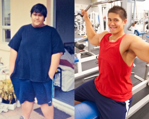 Picture of Andre before and after his physical transformation through workout. i cannot exercise