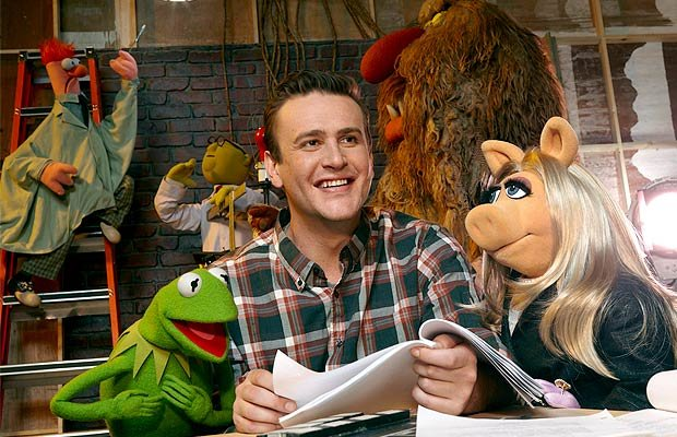 Jason Segel is all smiles with the Muppets. Walt Disney Pictures