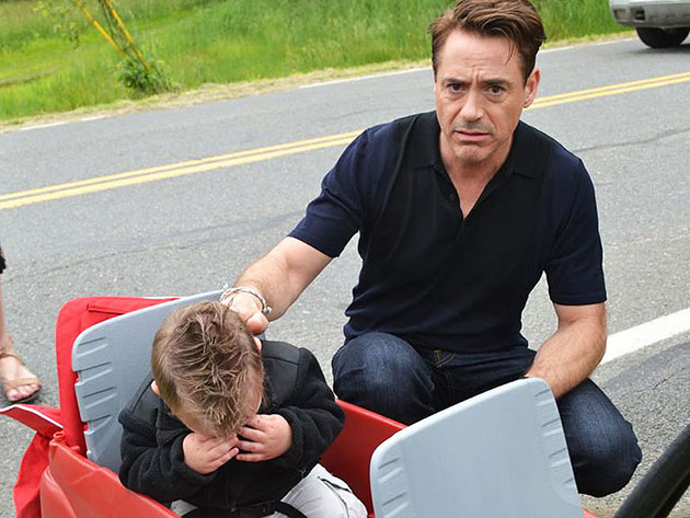 Jaxson Denno cries while meeting Robert Downey Jr. (Photo by Heather Denno)