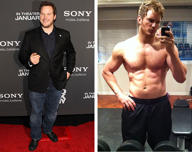 Chris Pratt in January 2013, and today after six months of training. (Paul Morigi/WireImage, Instagram)