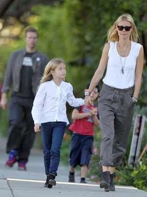 Paltrow walks with Apple, Moses, and Chris Martin. (PacificCoastNews)