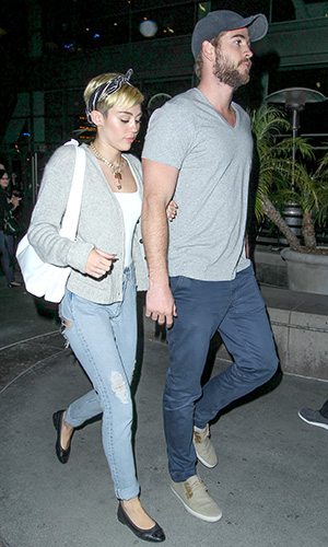 Miley Cyrus and Liam Hemsworth in L.A. on Monday (AKM Images / GSI Media)