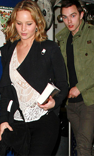 Jennifer Lawrence and Nicholas Hoult on April 29, 2013 (Broadband)