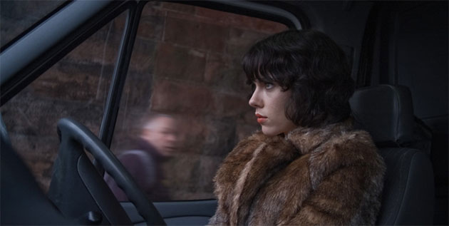 "A clothed Scarlett Johansson in ""Under the Skin."""