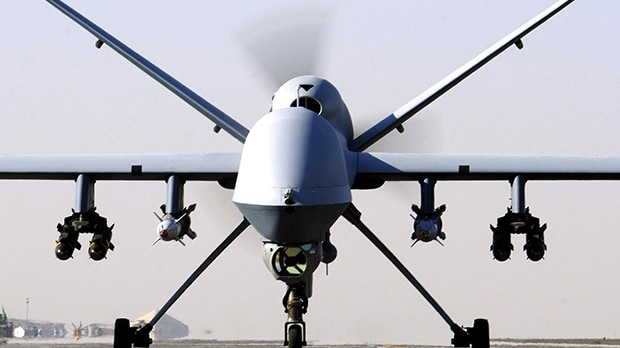 RAF drone footage shows the moment a missile stops Isil carrying out a public execution