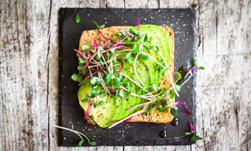 High Angle View Of Avocado Sandwich<br>GettyImages-724292981