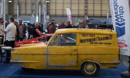 NEC Motor Show Exhibits Over Two Thousand Classic Cars<br>BIRMINGHAM, ENGLAND - NOVEMBER 10: A Reliant Robin van is displayed on the first day of the Lancaster Classic Motor Show are polished at the NEC Birmingham on November 10, 2017 in Birmingham, England. According to a recent survey by the Federation of British Historic Vehicles Clubs, the historic vehicle industry currently generates revenues in excess of £5.5 billion per year for the UK economy, and while current government policy is to promote self-driving and low carbon cars, according to Transport Minister Chris Grayling his party is also committed to supporting owners of classic cars, and those that want to continue to use them on the road in the future. (Photo by Matt Cardy/Getty Images)