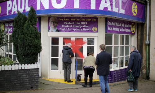 Jeremy Corbyn Supports Labour's New MP For Stoke-on-Trent Central<br>STOKE-ON-TRENT, ENGLAND - FEBRUARY 24: UKIP volunteers lock up and leave the vandalised UKIP campaign office after their leader Paul Nuttall lost the Stoke Central by-election in Stoke on February 24, 2017 in Stoke-on-Trent, England. Labour held their seat in the Stoke-On-Trent by-election but lost to the Conservatives in the Copeland by-election. (Photo by Christopher Furlong/Getty Images)