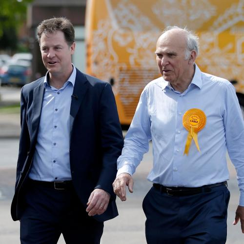 Britain's Liberal Democrat leader Nick Clegg campaigns with local candidate Vince Cable in Twickenham<br>Britain's Liberal Democrat leader Nick Clegg (L) campaigns with local candidate Vince Cable in Twickenham, London, Britain May 4, 2015. Britain will go to the polls in a national election on May 7. REUTERS/Peter Nicholls