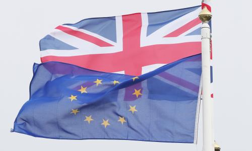 Brexit<br>File photo dated 26/10/17 of an EU and a UK flag. EU citizens are to be granted a statutory right of appeal if their application to stay in the UK after Brexit is rejected, the Government has announced. PRESS ASSOCIATION Photo. Issue date: Tuesday November 7, 2017. The right to appeal to the UK courts is among a set of tweaks to Britain's proposals on EU citizens' rights presented to the European Commission in a bid to break the deadlock in Brexit talks ahead of formal negotiations in Brussels later this week. See PA story POLITICS Brexit Citizens. Photo credit should read: Niall Carson/PA Wire