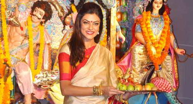 sushmita-sen durga puja make-up
