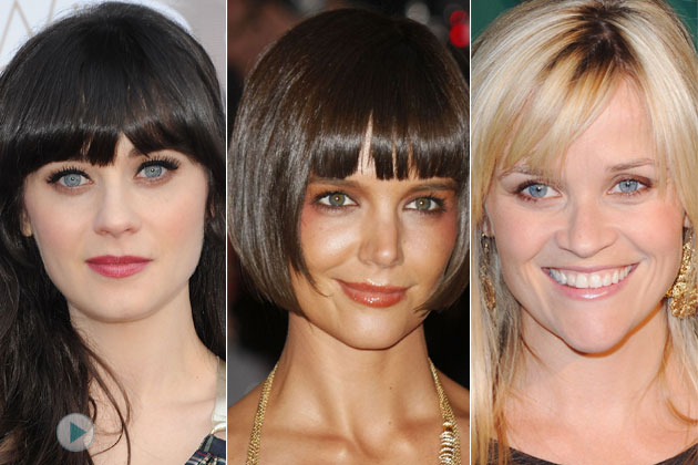 Know your face shape before having your bangs cut. Take inspiration from Zooey Deschanel, Katie Holmes, and Reese Witherspoon.
