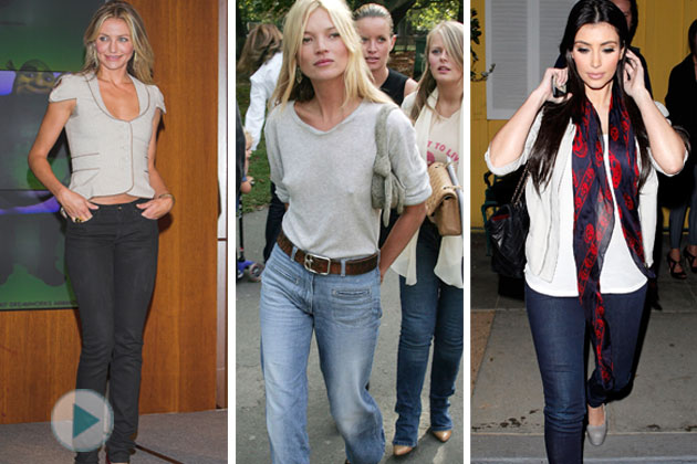 Cameron Diaz, Kate Moss, and Kim Kardashian know what kind of denim jeans work for their body type.