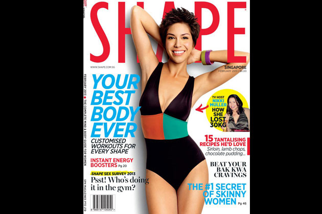 Nikki Muller confidently shows off her curves on the cover of Shape Magazine Singapore last February 2013.