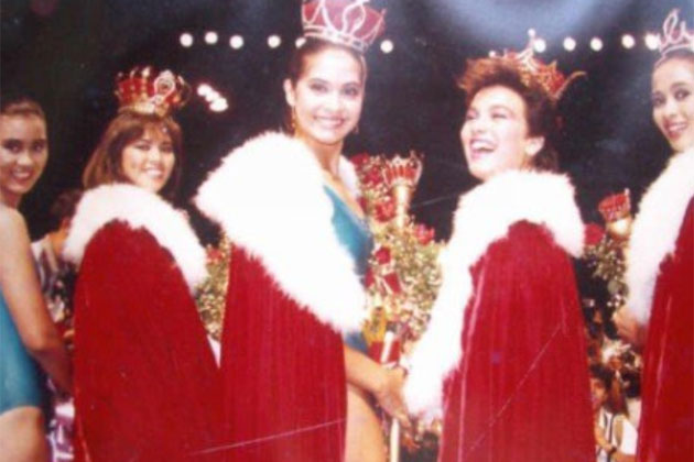 Fourth from left: Sabrina Artadi crowned as Miss International at the 1985 Bb. Pilipinas Pageant.