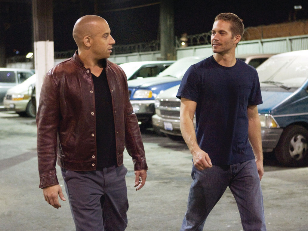 Vin diesel as dominic toretto left and paul walker as brian o conner right in fast and furious 4
