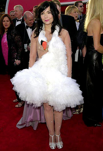 Bjork poses in her infamous swan dress at the 2001 Oscars. - Kevin Mazur/WireImage.com