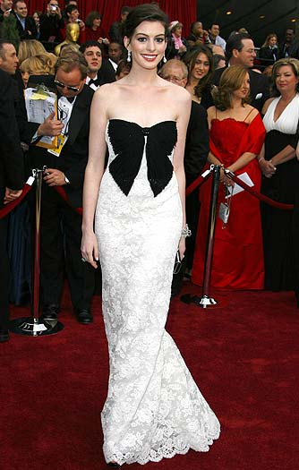 """I am not proud of that dress,"" says the Italian designer about Anne Hathaway's bowed horror from the 2007 Oscars. - Steve Granitz/WireImage.com"