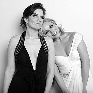 "Tina Fey celebrated her Best Actress in a TV Comedy win with ""30 Rock"" costar Jane Krakowski. - Gavin Bond/InStyle"