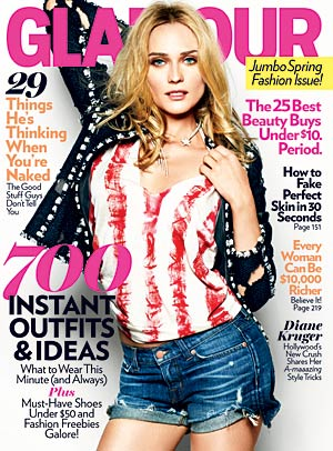 Diane Kruger graces the cover of Glamour's March issue in a Chanel jacket, Daryl K t-shirt, J. Brand shorts, and a Chanel Fine Jewelry necklace. - Ellen Von Unwerth/Glamour