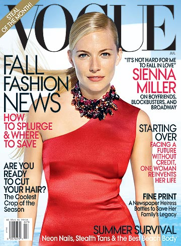 Sienna Miller graces the cover of Vogue's July issue. - Craig McDean/Vogue
