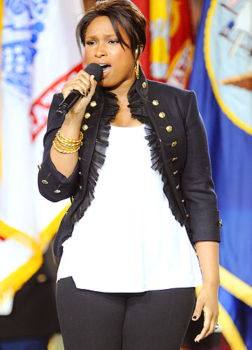 Jennifer Hudson rocked a $3,420 Alexander McQueen military-style jacket, skin-tight black pants, and gladiator wedges to perform at the Super Bowl. - Jeff Kravitz/FilmMagic.com