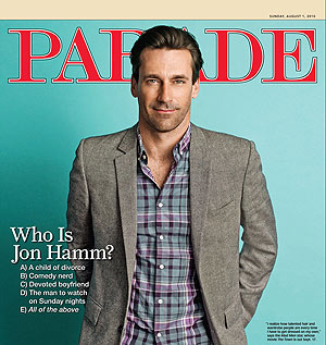 Jon Hamm looks sharp in Parade.