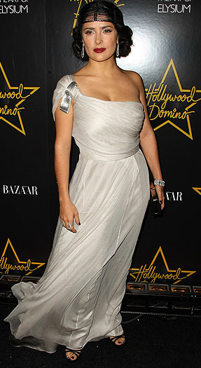 Salma Hayek dressed up her Stella McCartney frock with an interesting headpiece. - Andrew H. Walker/Getty Images