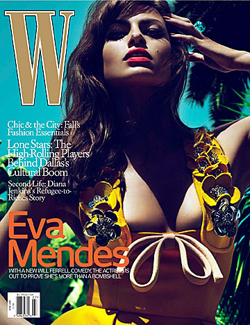Eva Mendes heats up the July issue of W . - Mert Alas and Marcus Piggott/W