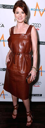 "Debra's brown belted Bottega Veneta dress is anything but ""bananas."" - Jeff Vespa/WireImage.com"