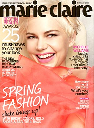 Michelle Williams graces the February cover of Marie Claire. - Tesh/Marie Claire