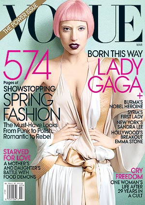Lady Gaga graces the March cover of Vogue. - Mario Testino/Vogue