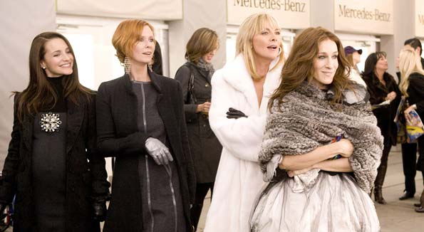 BFFs Charlotte (Kristin Davis), Miranda (Cynthia Nixon), Samantha (Kim Cattrall), and Carrie (Sarah Jessica Parker) hit up New York's Fashion Week. - Craig Blankenhorn/newline.wireimage.com