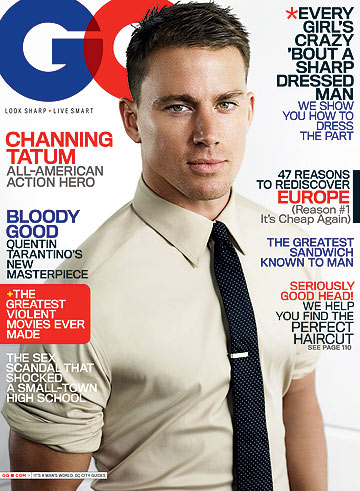 Channing Tatum poses on the cover of August's GQ. - GQ