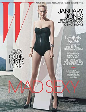 January Jones strikes a pose on the cover of W . - Craig McDean/W