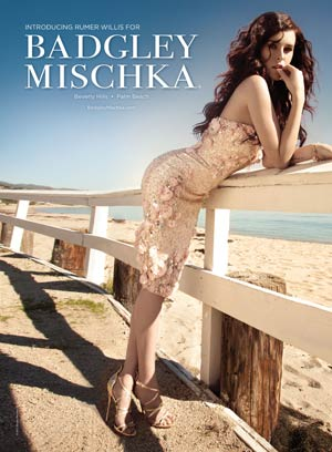 Rumer Willis models for Badgley Mischka's spring 2011 campaign. - Badgley Mischka
