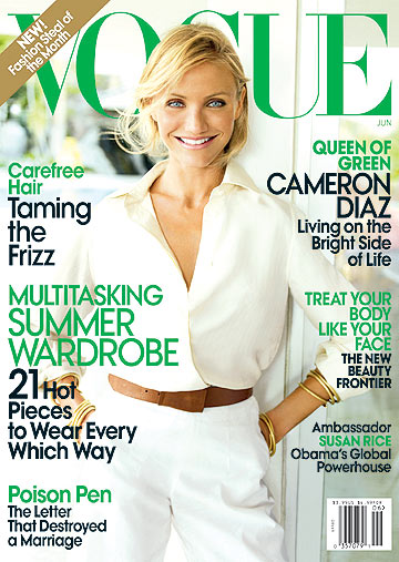Cameron Diaz reveals how she lives on the bright side of life in Vogue's June issue. - Mario Testino/Vogue