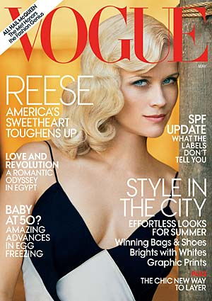 Reese Witherspoon graces the cover of Vogue's May issue. - Peter Lindbergh/Vogue