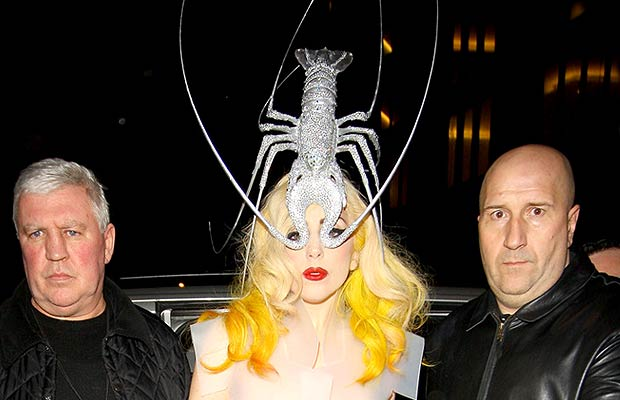 Lady Gaga debuts a diamante-encrusted lobster headdress in London. - Smart Pictures/PacificCoastNews.com