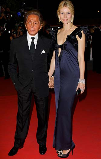 Valentino poses at the 61st Cannes Film Festival with his muse Gwyneth Paltrow. - Mike Marsland/WireImage.com