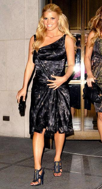 Jessica Simpson leaves the Gramercy Park Hotel in New York wearing a dress that resembles a trash bag. - Edward Opinaldo/PacificCoastNews.com