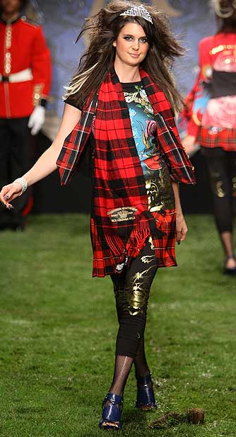 Plaid was everywhere: on scarves, skirts, and leggings. - Frazer Harrison/Getty Images