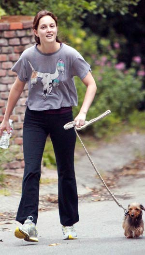 Leighton Meester gets some exercise with her hiking partner. - Brooks/INFphoto.com