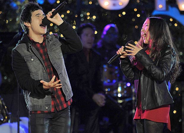David Archuleta and Charice sing their hearts out at The Grove's tree lighting ceremony in Los Angeles. - Dr. Billy Ingram/WireImage.com