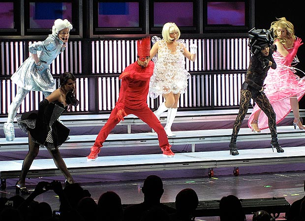 "A variety of iconic Lady Gaga getups were on display during the rendition of ""Bad Romance."" - Matt Whitfield"
