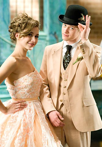 Kelsi (Olesya Rulin) and Ryan (Lucas Grabeel) wear peach to prom. - Disney Enterprises, Inc.