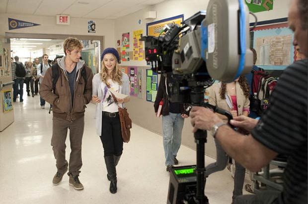 Pettyfer and Agron film a scene set at the local high school. - DreamWorks